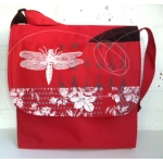 Sac panneau libellule rouge / dragonfly